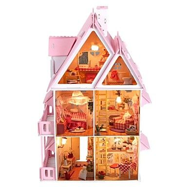 große+Traumvilla+diy+hölzerne+Puppenhaus+inklusive+aller+Möbel+–+EUR+€+58.79