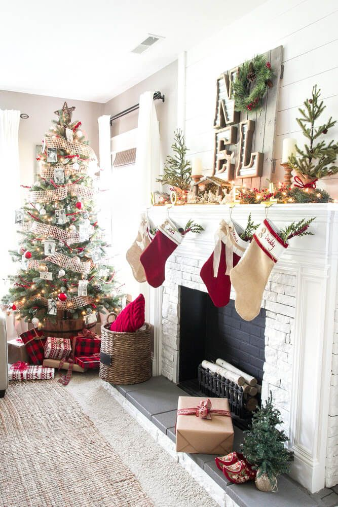 32 Gorgeous Ways to Decorate Your Living Room For Christmas House - christmas fireplace decor