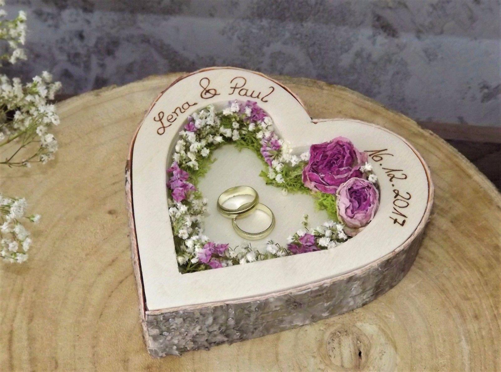 Ringkissen Mit Namen Zur Hochzeit I Ring Kissen Aus Holz I Rustikal