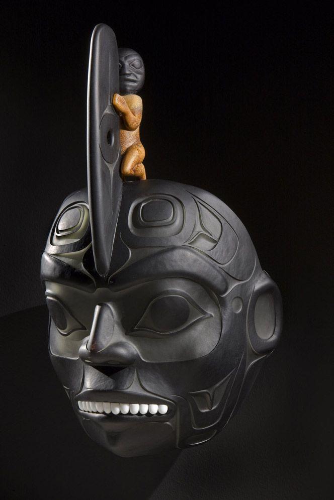 "Preston Singletary (Native American,Tlingit, born 1963) glass sculpture ~ ""Killer Whale Ancestor Mask"""