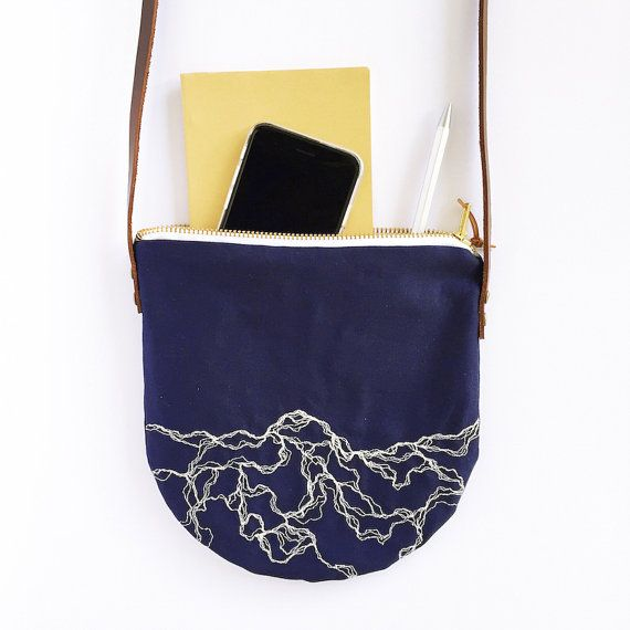 Small crossbody bag with white marble embroidery by AkasukiDesigns