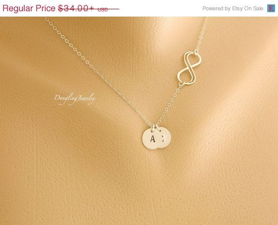 CYBER MONDAY SALE Two Initial Infinity Necklace by DanglingJewelry