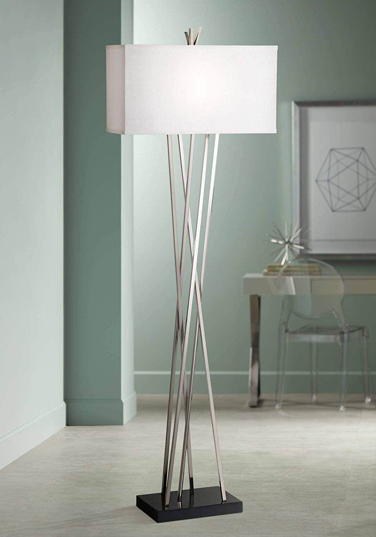Modern Floor Lamp Brushed Steel Asymmetry White Linen Rectangular Shade For Living Room Reading Bedroom Office Possini Euro Design Modern Floor Lamps Contemporary Floor Lamps Floor Lamps Living Room