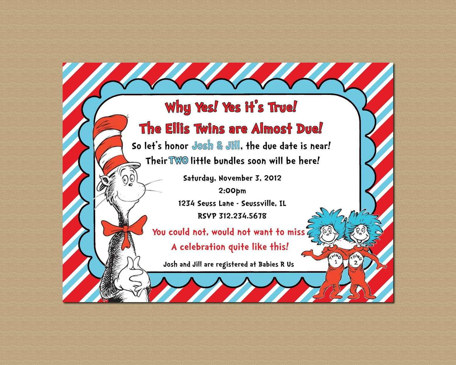 Thing 1 Thing 2 Twin Dr. Seuss Baby Shower Invitation, Printable ...