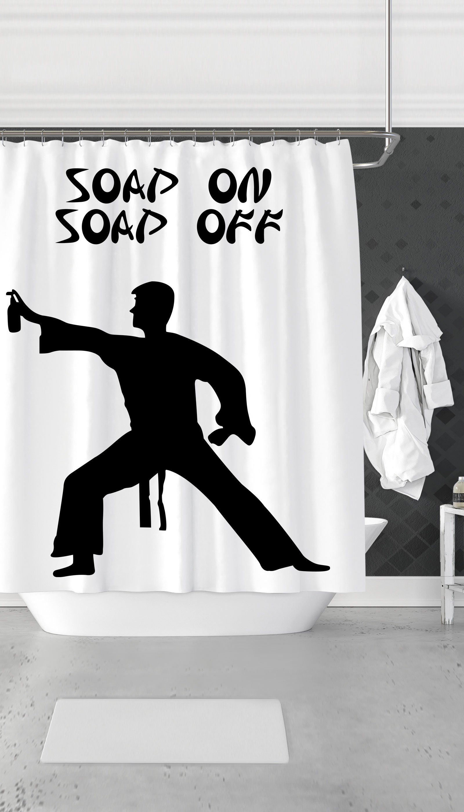 Soap On Off Funny Shower Curtain
