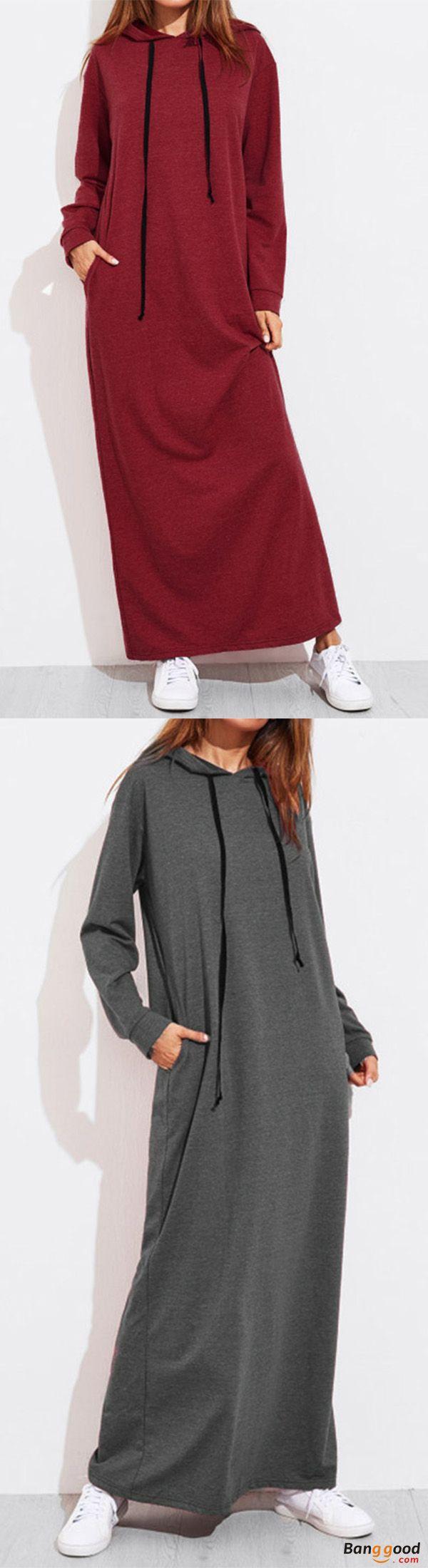 Casual women solid color full sleeve long hooded sweatshirt dress