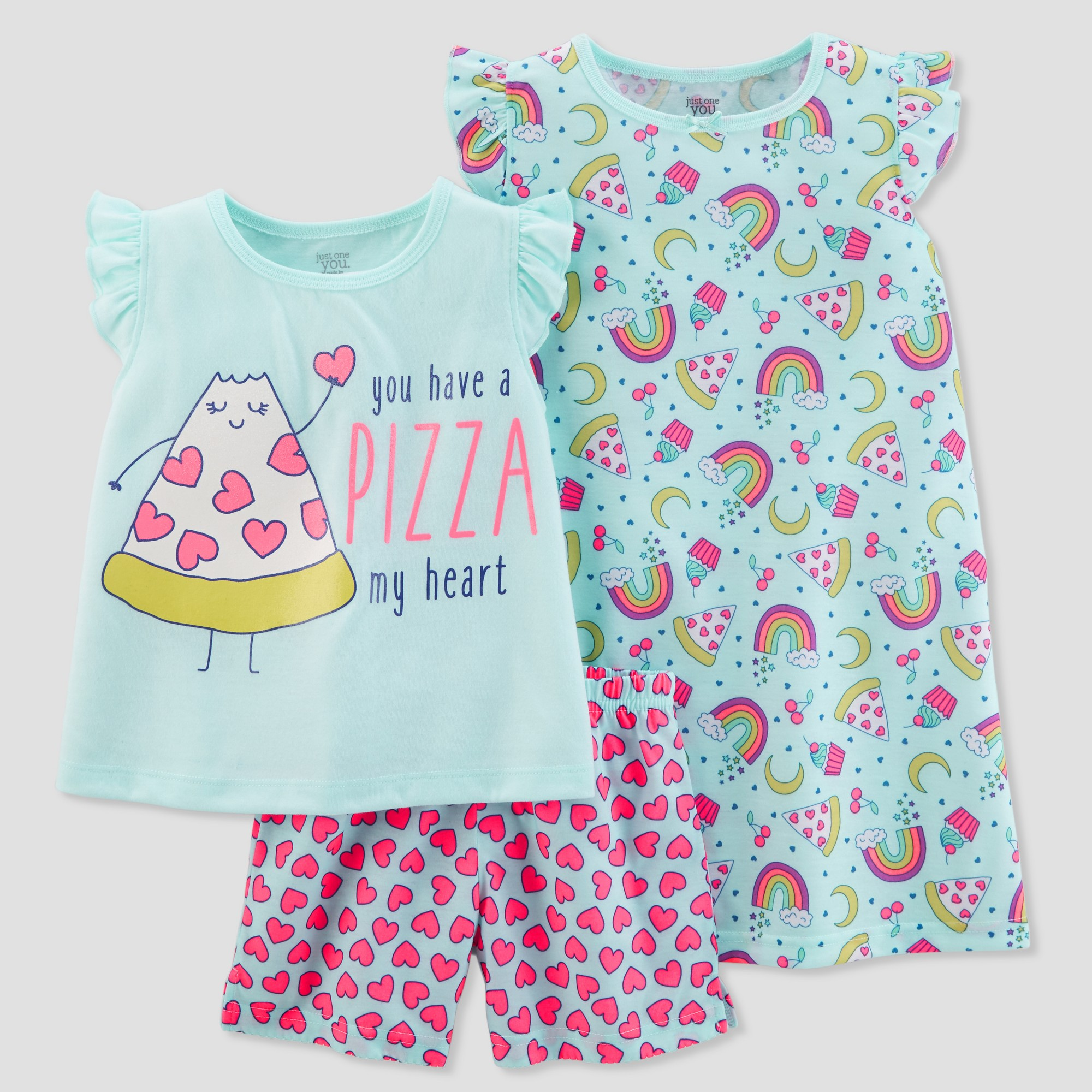 8af4e023ce Girls  3pc Poly Pizza Hearts Pajama Set - Just One You made by carter s  Blue 5