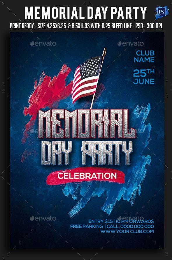 memorial day party flyer template psd flyer templates pinterest