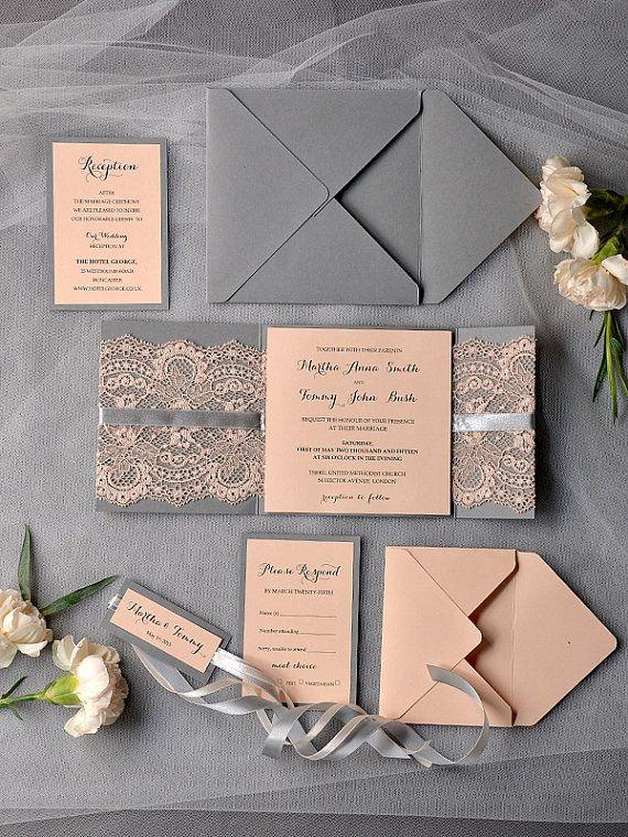 peach wedding invitations lace grey and peach by 4lovepolkadots - Peach Wedding Invitations