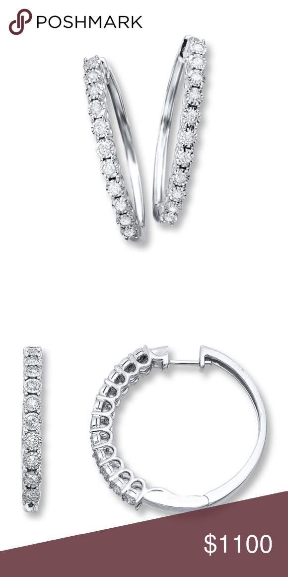 dbd4a23ae Kay Jewelers Diamond Hoop Earrings New In Box, Radiant Reflections Diamond  Hoop Earrings with Huggie