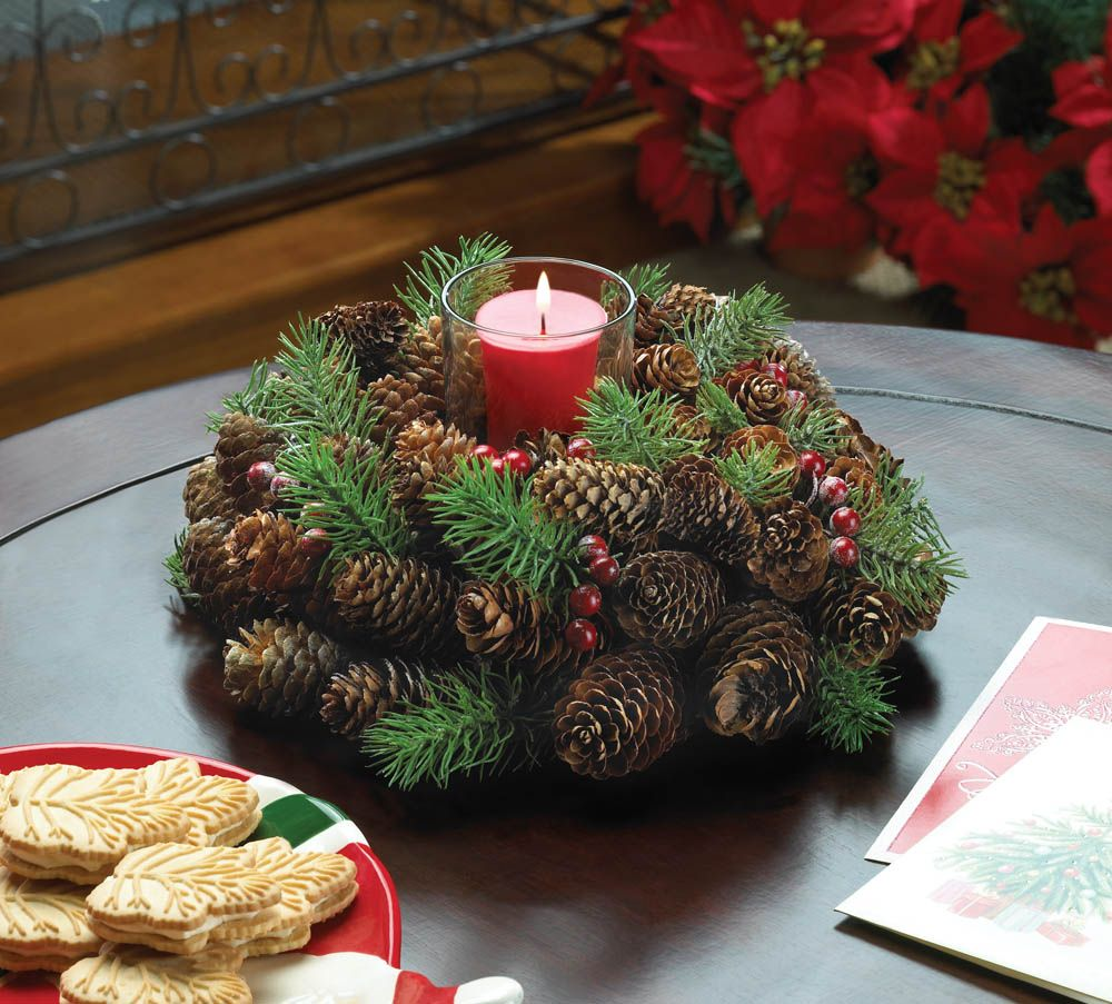 Christmas Table Centerpiece Everlasting Pine Cone Wreath Candle Holder Christmas Centerpieces Christmas Wreaths Pine Cone Decorations