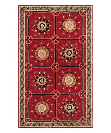This Red & Natural Micah Hand-Hooked Rug is perfect! #zulilyfinds