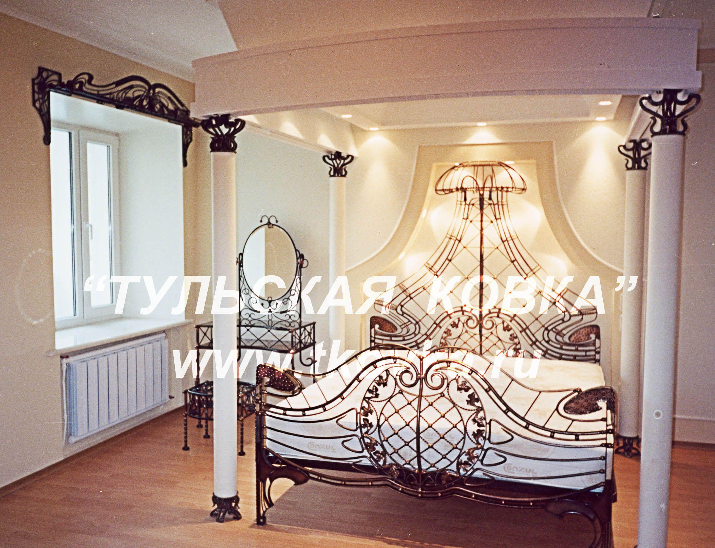 Кованая кровать с балдахином, кованые гардины. Wrought iron four ...