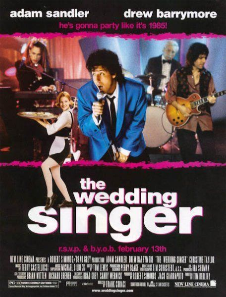 The Wedding Singer Starring Adam Sandler Drew Barrymore Christine Taylor Allen Covert