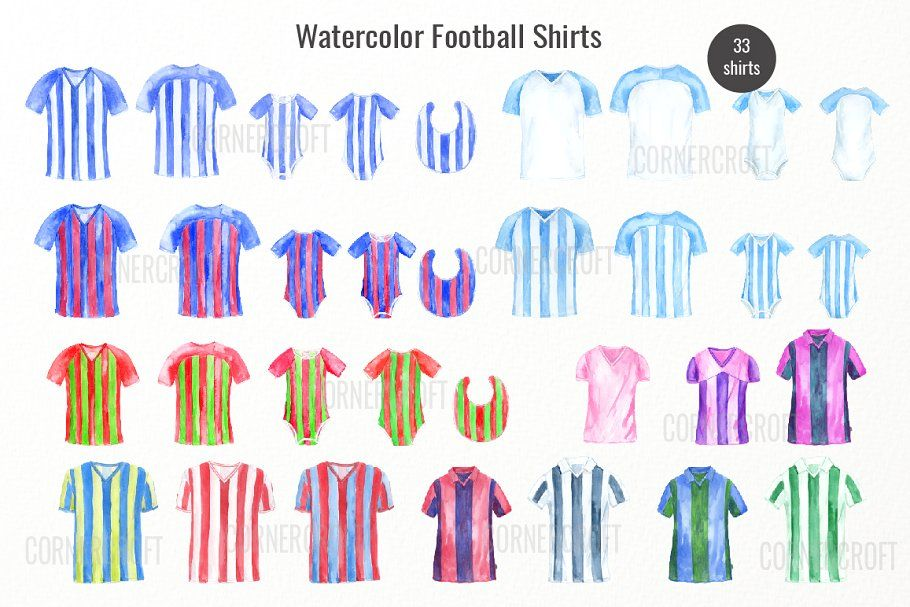 Watercolor Football Shirt Collection Football Watercolor Shirt