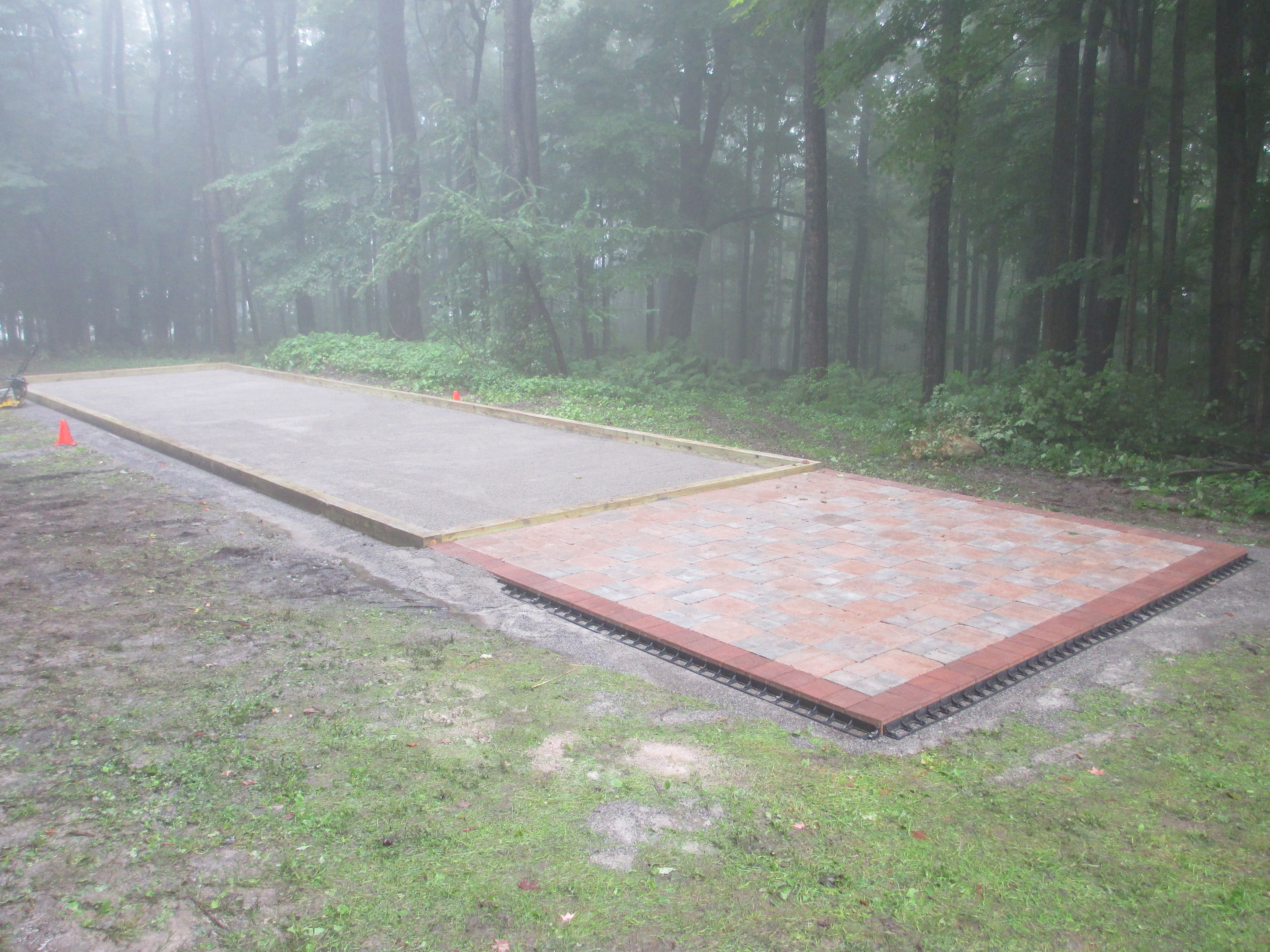 pentague court with paver patio bocce ball court construction