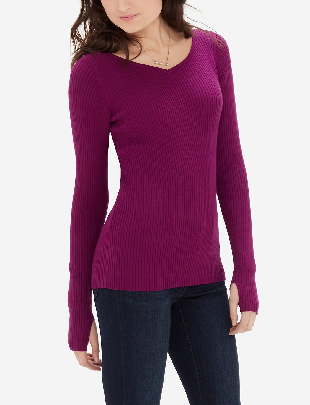 Sweetheart ribbed sweater long sleeve sweater the limited