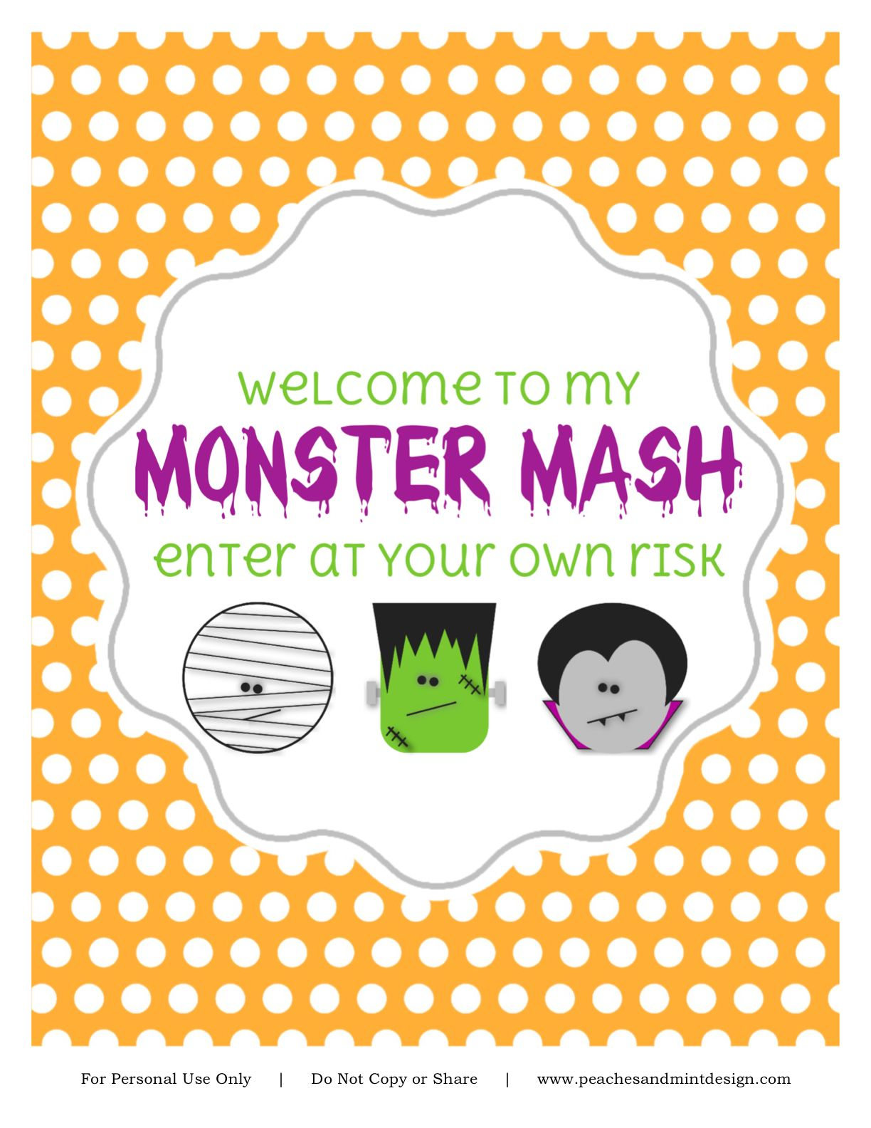 Such a cute free halloween printable party sign halloween party