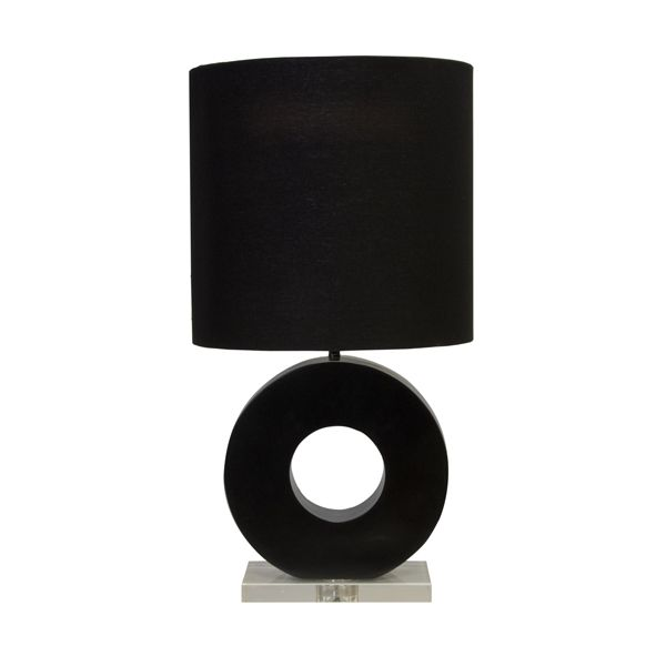 World Away Matte Black And Lucite Ring Lamp With Black Linen Drum Shade LESLIE BLK