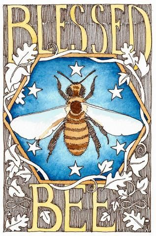 5 handmade 'Blessed Bee' cards on recycled brown paper.