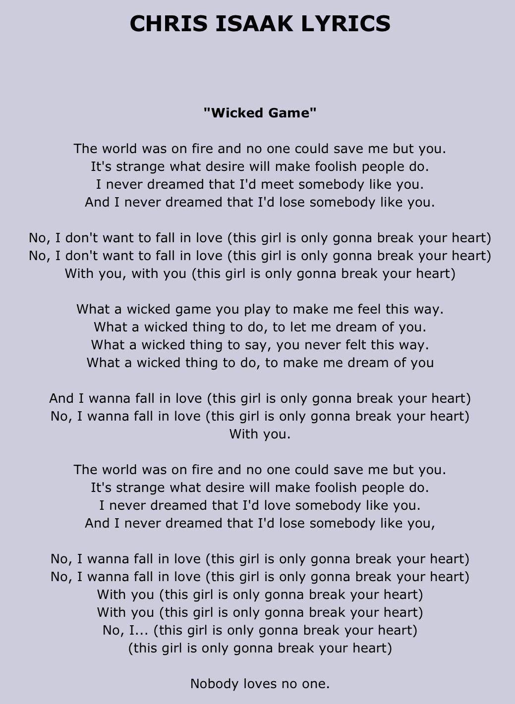 Tab4U.com - Chris Isaak - Wicked Game Chords and Lyrics