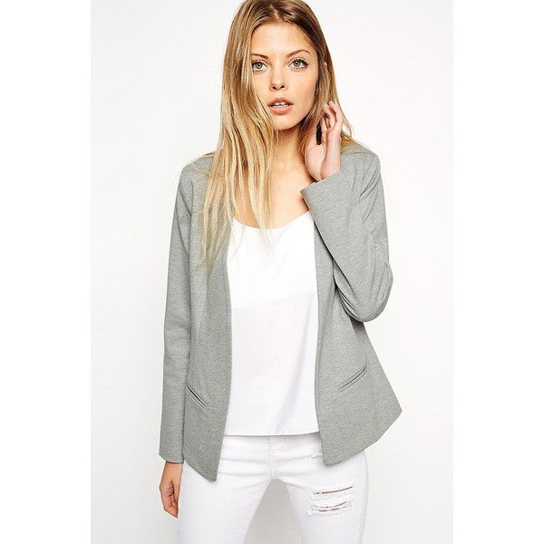 Gray Open Front Long Sleeve Casual Blazer ($32) ❤ liked on Polyvore featuring outerwear, jackets, blazers, grey, open front blazer, grey blazer, gray jacket, grey jacket and long sleeve jacket