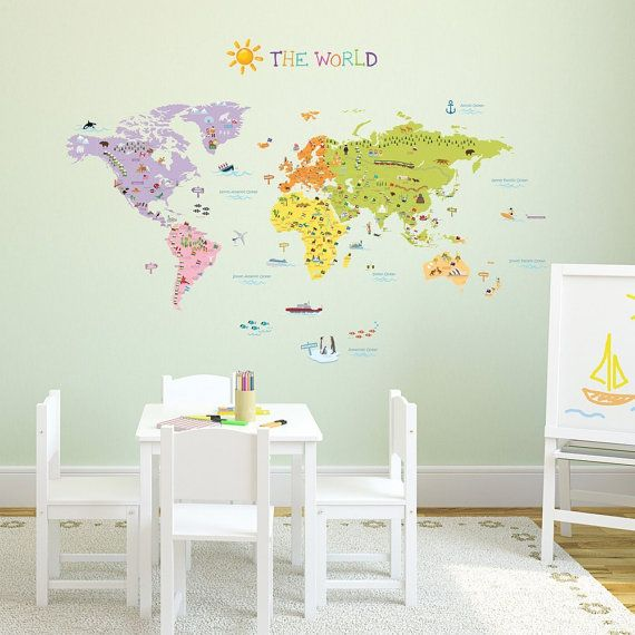 Kids world map wall decals stickers great for the bedroom or kids world map wall decals stickers great for the bedroom or classroom gumiabroncs Gallery