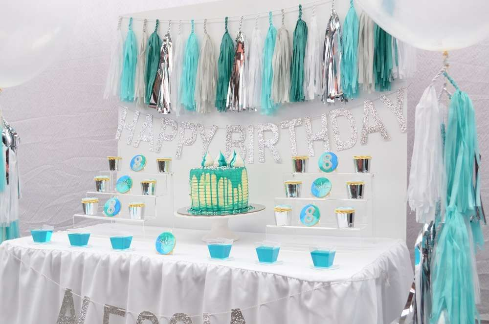 Blue Silver And Teal Birthday Party Ideas Photo 7 Of 24 Silver Party Decorations Black Party Decorations Yellow Birthday Parties