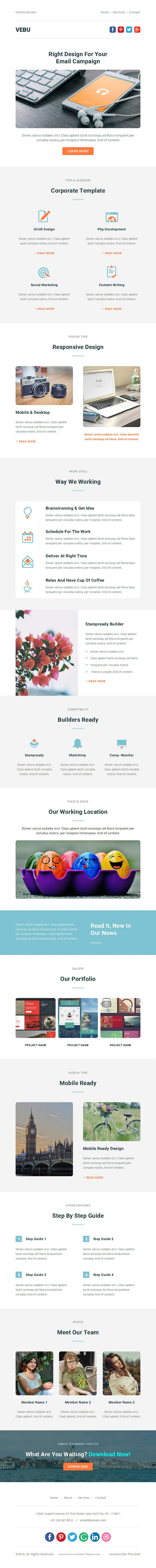 VEBU - Multipurpose Responsive Email Template + Stampready Builder