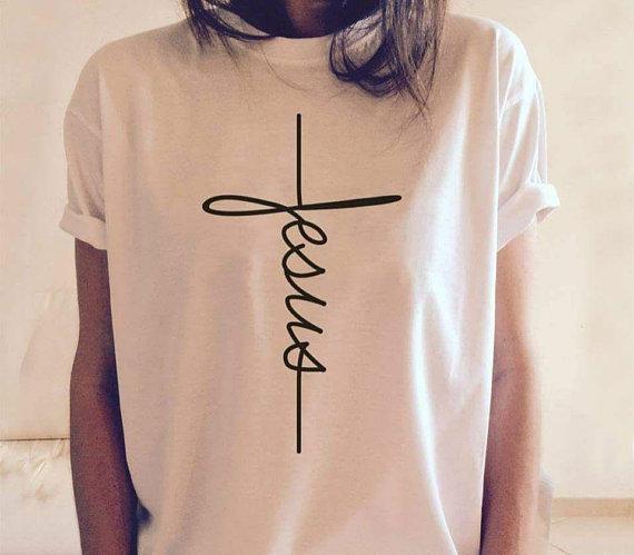 3bab3d3d Jesus T-shirt, Jesus, Christian shirt, Jesus shirt, vertical cross, cross,  Jesus cross, religious sh