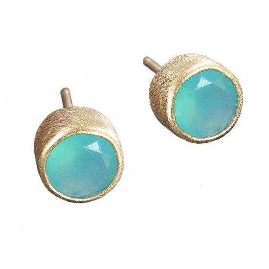 Peruvian Opal Studs in Recycled 14k Gold - Limited Edition - Christine Mighion Jewelry