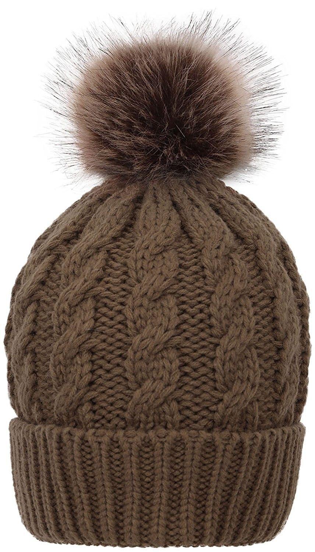 072feb6b8c7 Women s Cable Knit Faux Fur Pom Beanie - Olive Khaki - C91873H8QUI - Hats    Caps