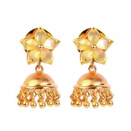 Stay simple and stylish with this pair of 18k handcrafted gold jhumkis that combines the recurring floral motif Mother of Pearl stud and a high polished dome for a lively contrast.