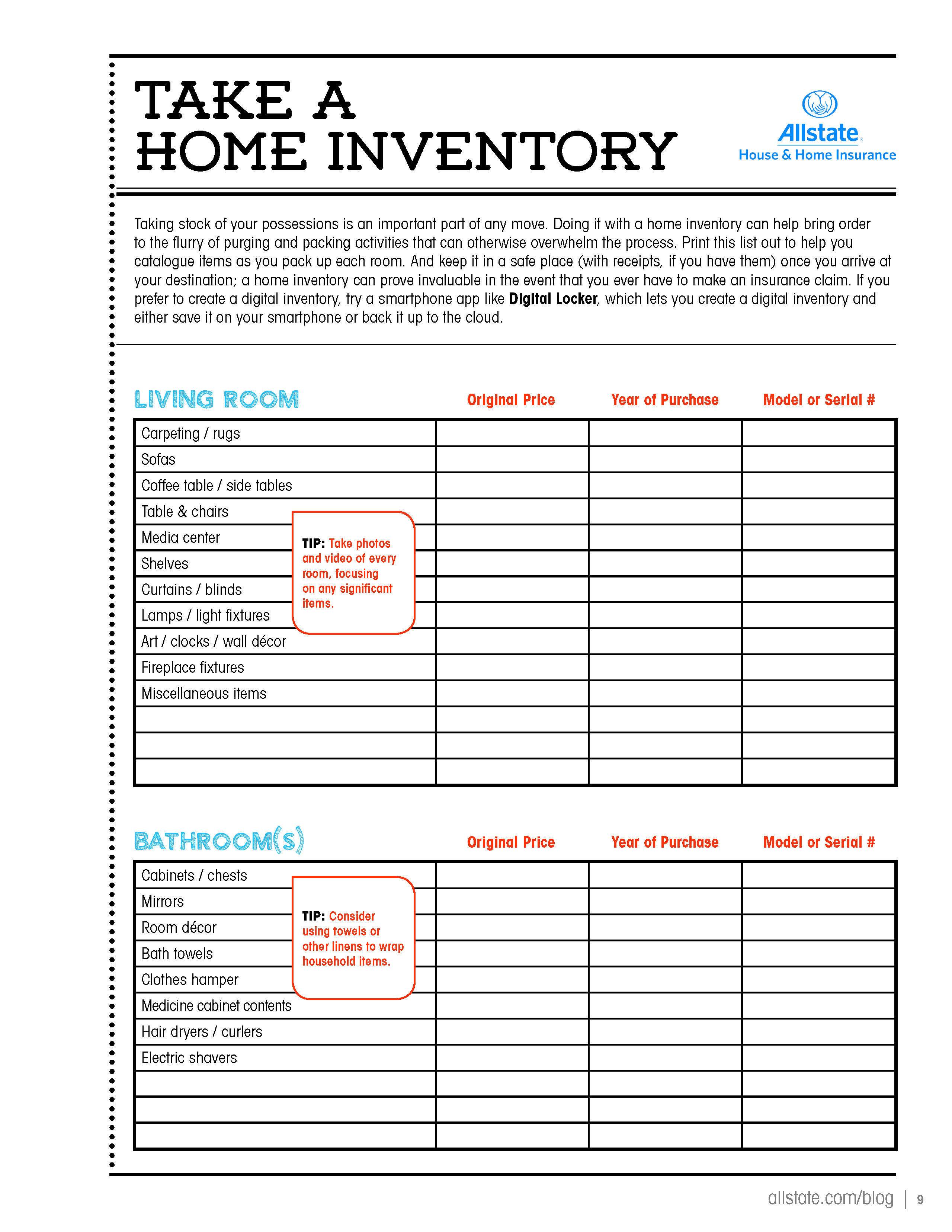 Take A Home Inventory Page 1 Of 5 Loveyourhome Home Inventory Moving Guide Moving Day