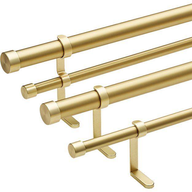 brushed brass curtain rod set 28 48 x
