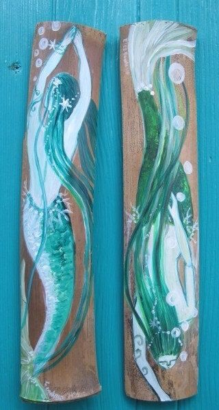 Ready to ship Pair of aqua teal Mermaids, mermaid wall decor , 2 Hand Painted Fantasy Teal Mermaids - Beach House Decor- mermaid bathroom #mermaidbathroomdecor