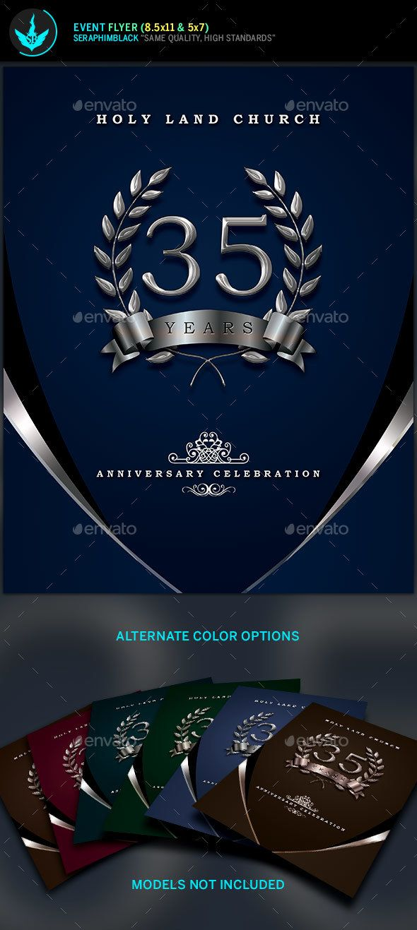 Silver Navy Blue Anniversary Flyer Template  Flyer Template