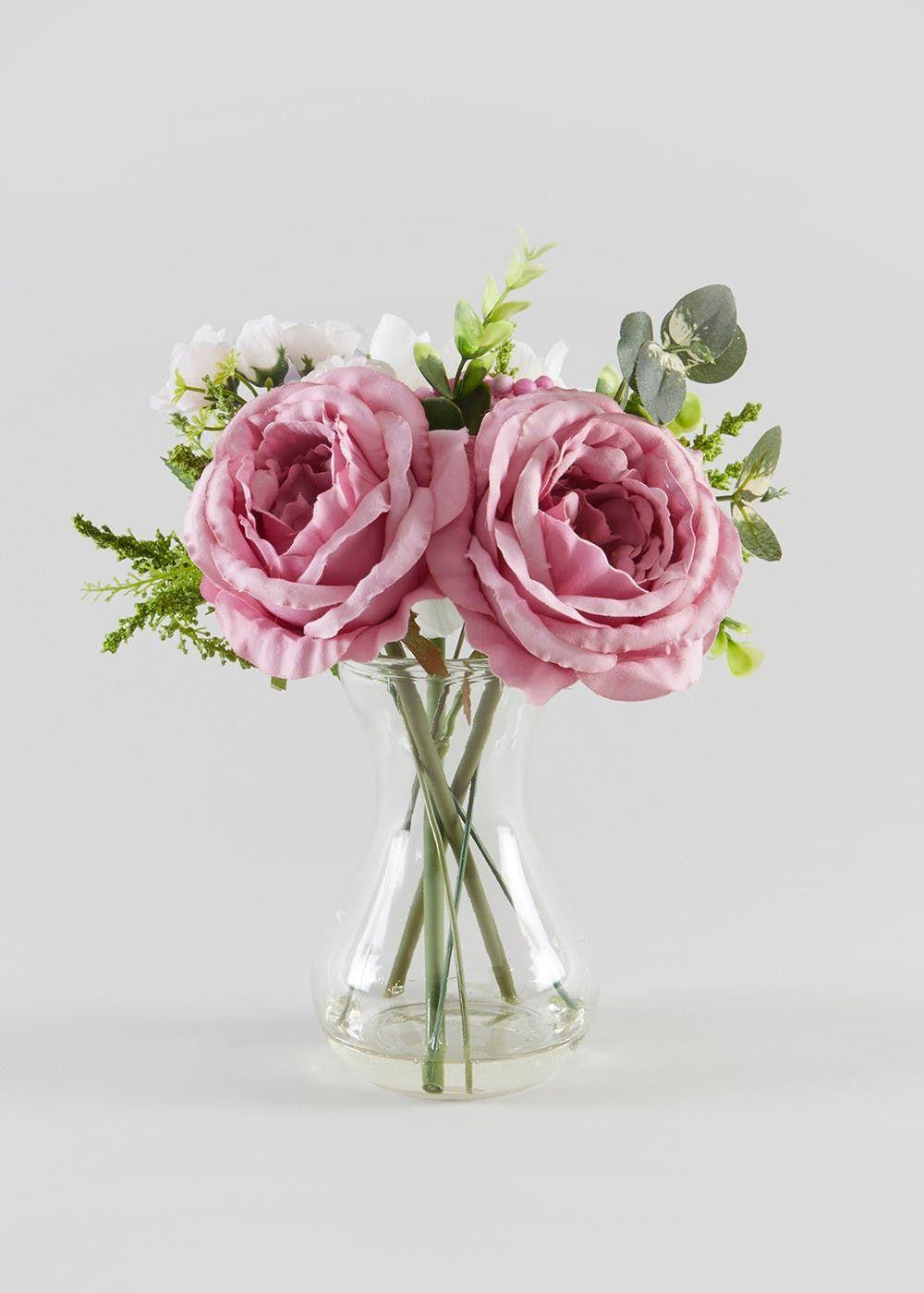Pinterest & Floral Arrangement in Glass Vase (25cm x 20cm x 20cm) in ...