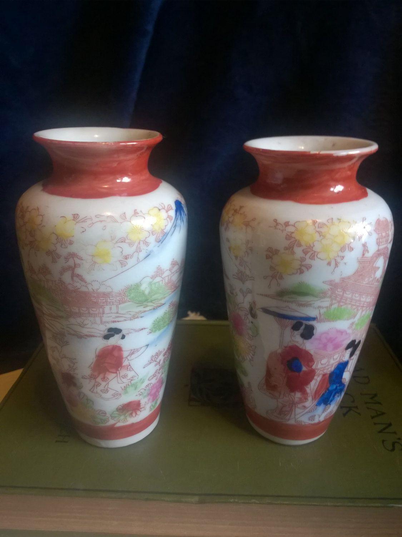 Vintage vases japanese hand painted collectable china vintage vases japanese hand painted collectable china porcelain 1950s pair of vases japan satsuma miniature vase reviewsmspy