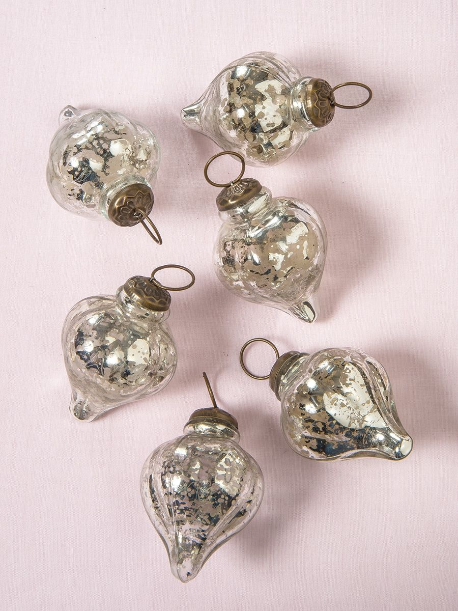 Carla Mercury Glass Ornament Mercury Glass Ornaments Mercury Glass Christmas Ornaments Mercury Glass Christmas