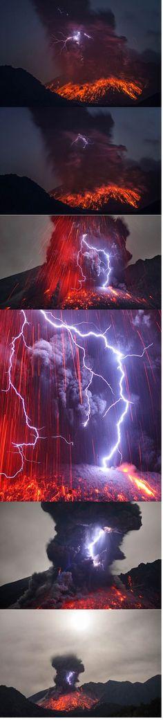 volcano and lightning. WOW!