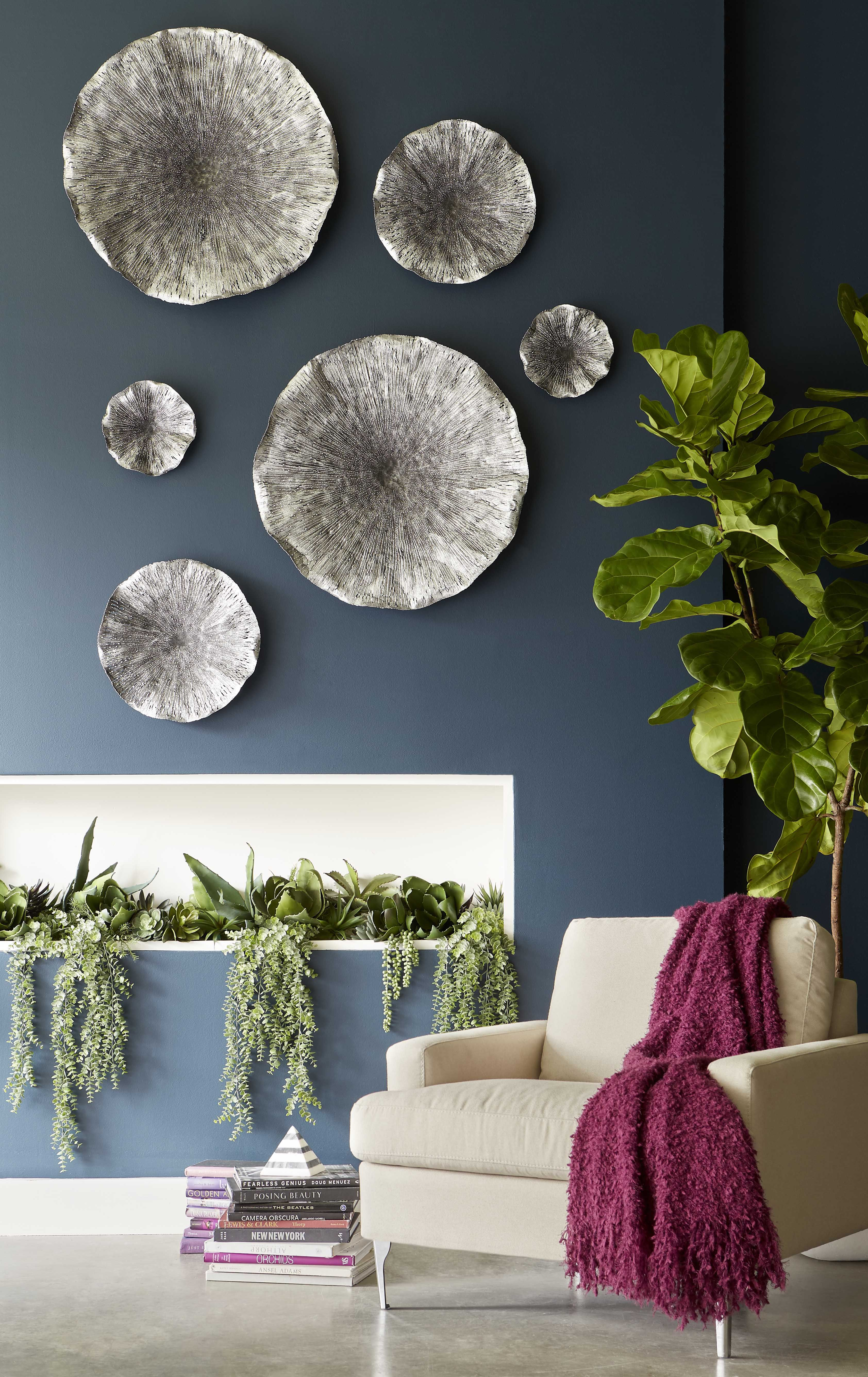 Lotus Wall Art In Silver Black Available In Three Different Sizes