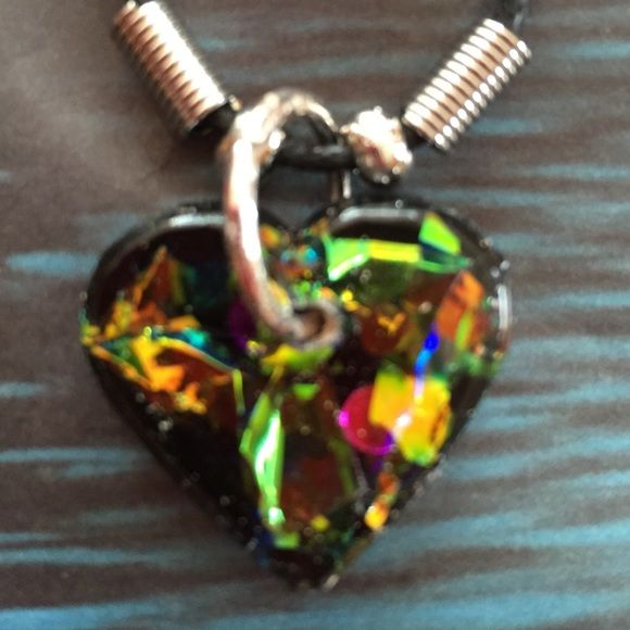"Dichroicish small colored heart new Newly handmade without tag. Not one I make is exactly alike . 1"" heart Jewelry"