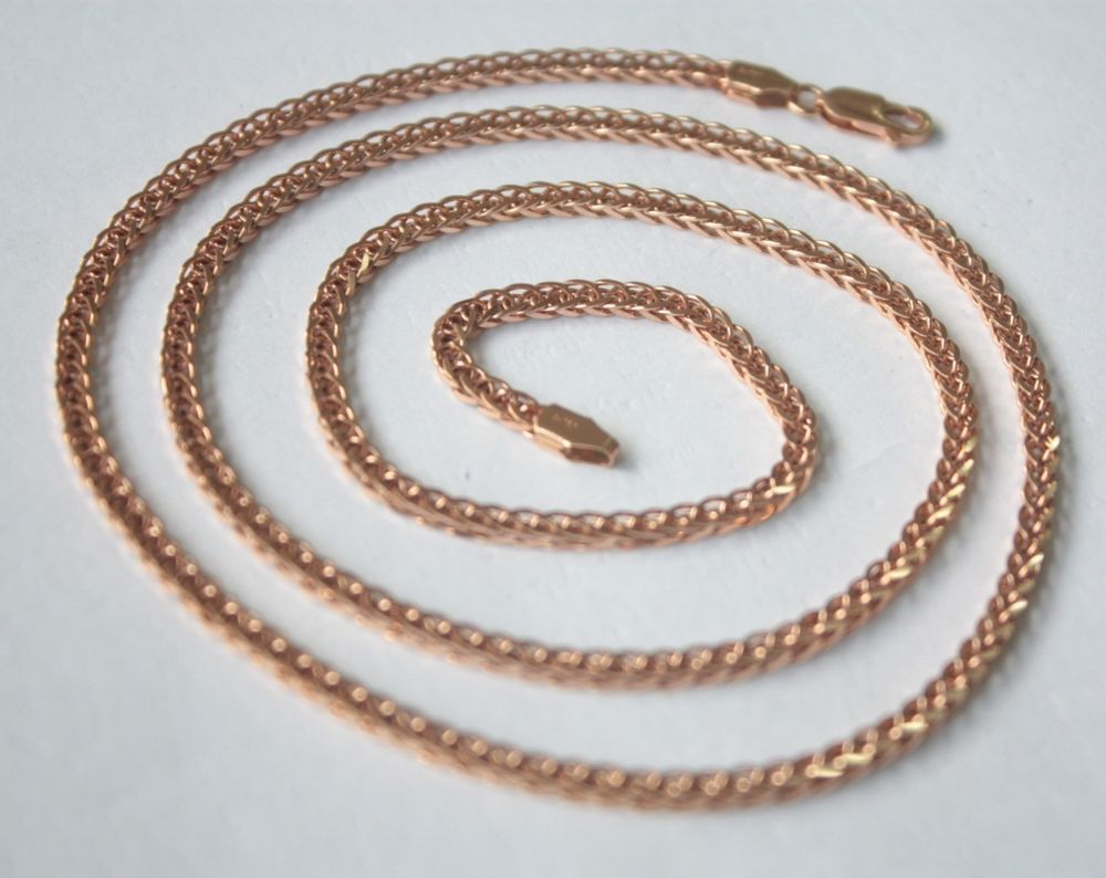Au pure k rose gold unisex mm w wheat chain necklace g