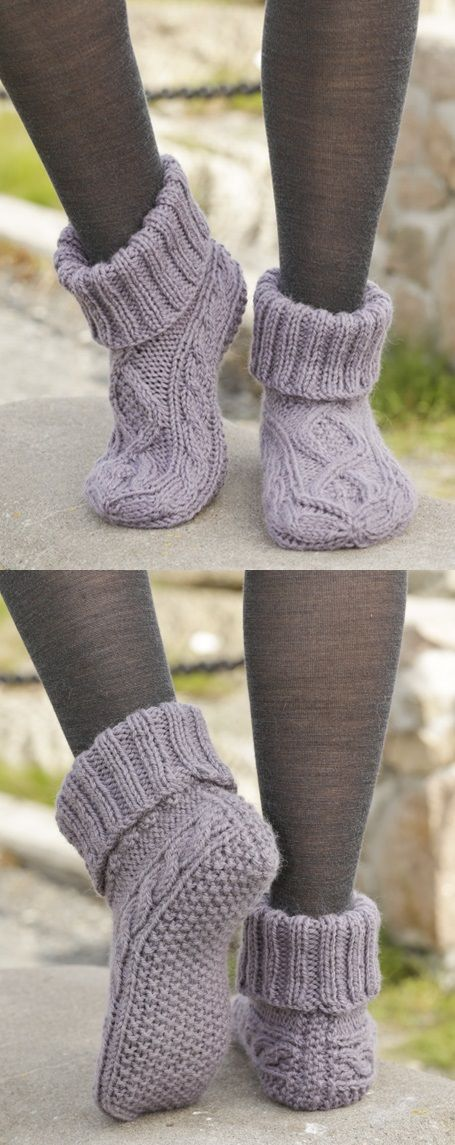 Free slipper knitting pattern with cables #knitting