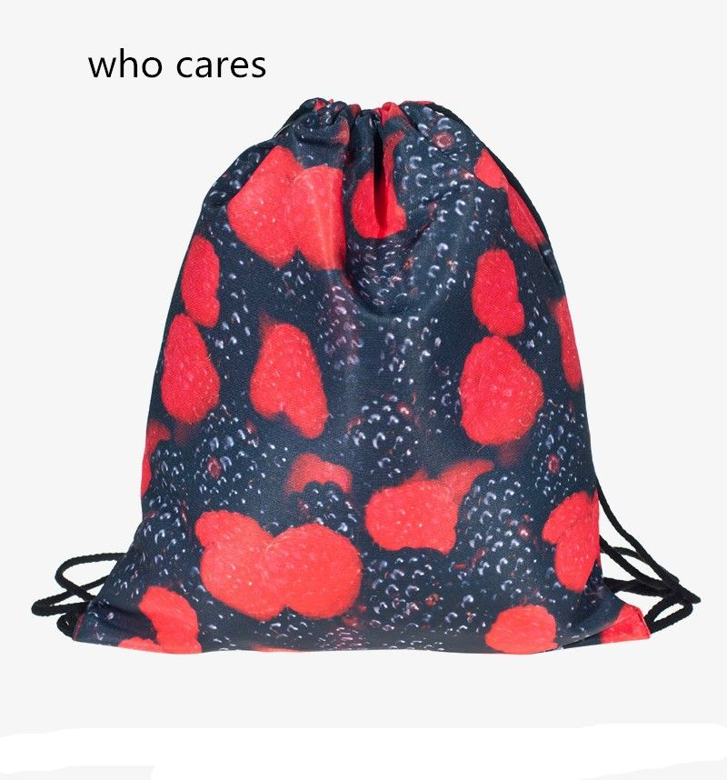 Who Cares 3D Printing Backpack Women Blackberrys Drawstring Bag Mochila Feminina Fashion daily Casual For Girl