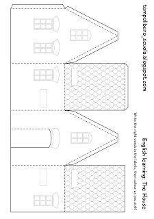 Simple house papercraft models pesquisa google boites pinterest gabarit activit et - Gabarit maison en carton ...