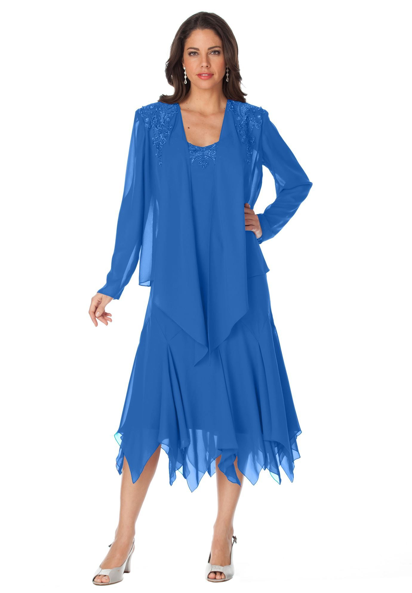 215ff590341 Beaded Hankie Hem Fit   Flare Jacket Dress