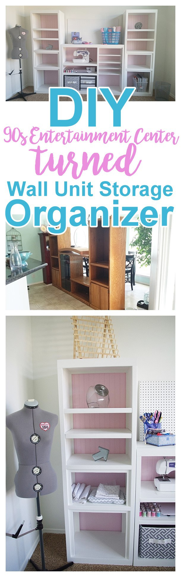 Diy craft room wall storage organizer unit furniture makeover diy 90s ugly oak entertainment center turned pretty craft storage organizer wall unit furniture makeover do it yourself project tutorial solutioingenieria Image collections