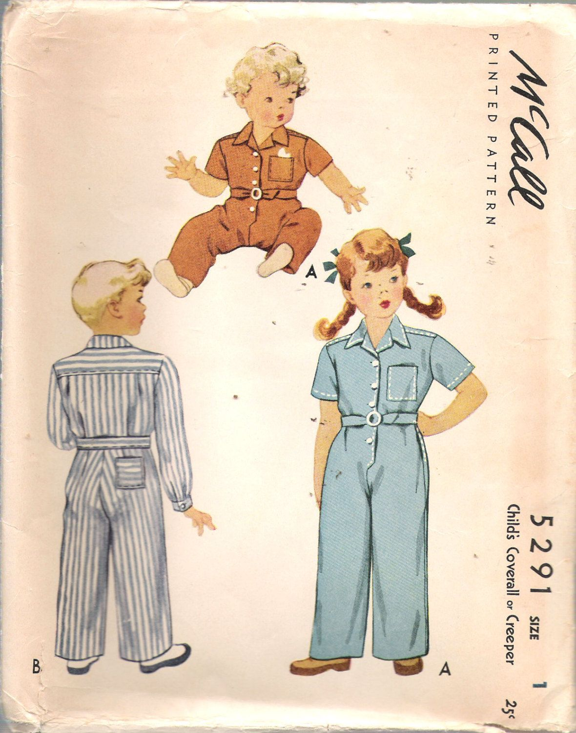 """Vintage 1943 McCall 5291 Child's Coverall or Creeper Sewing Pattern Size 1 Breast 20"""" UNCUT by Recycledelic1 on Etsy"""
